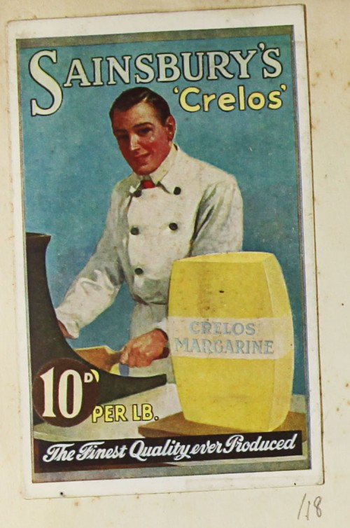 SA/MARK/ADV/1/1/1/1/1/9/18 - 'Sainsbury's 'Crelos' Margarine advert, c. 1920s