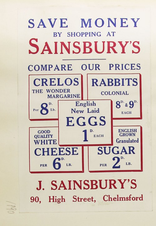 SA/MARK/ADV/1/1/1/1/1/9/190 - 'Save Money By Shopping At Sainsbury's' advert, c. 1935
