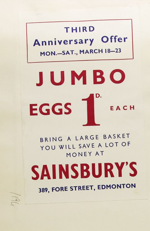SA/MARK/ADV/1/1/1/1/1/9/194 - 'Third Anniversary Offer' for 'Jumbo Eggs' advert, [1935]