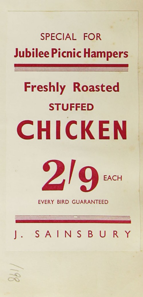 SA/MARK/ADV/1/1/1/1/1/9/198 - 'Special for Jubilee Picnic Hampers: Freshly Roasted Stuffed Chicken 2'9 each' advertisement, [1935]