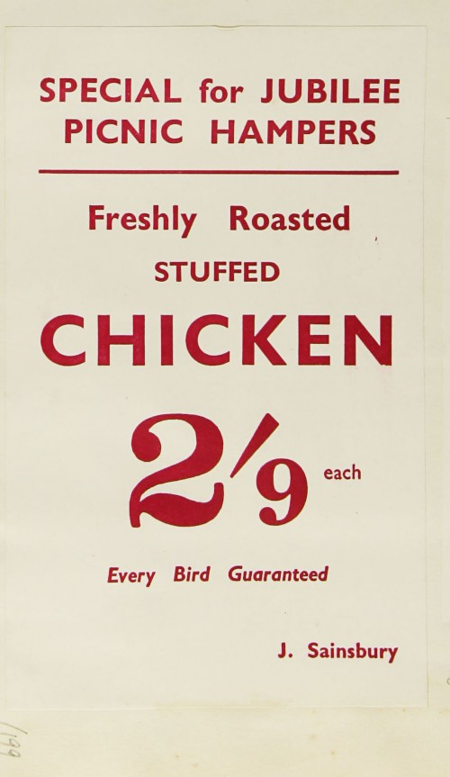 """SA/MARK/ADV/1/1/1/1/1/9/199 - """"Special for Jubilee Picnic Hampers: Freshly Roasted Stuffed Chicken 2'9 each"""" advertisement"""