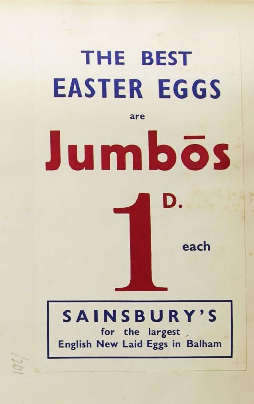 SA/MARK/ADV/1/1/1/1/1/9/201 - 'The Best Easter Eggs are Jumbos' advert, [1935]