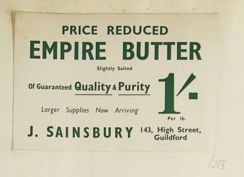 SA/MARK/ADV/1/1/1/1/1/9/213 - 'Price Reduced Empire Butter' advert, c. 1935