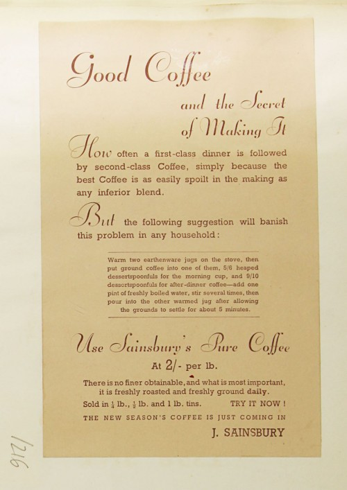 SA/MARK/ADV/1/1/1/1/1/9/216 - 'Good Coffee and the Secret of Making It' advert, c. 1936