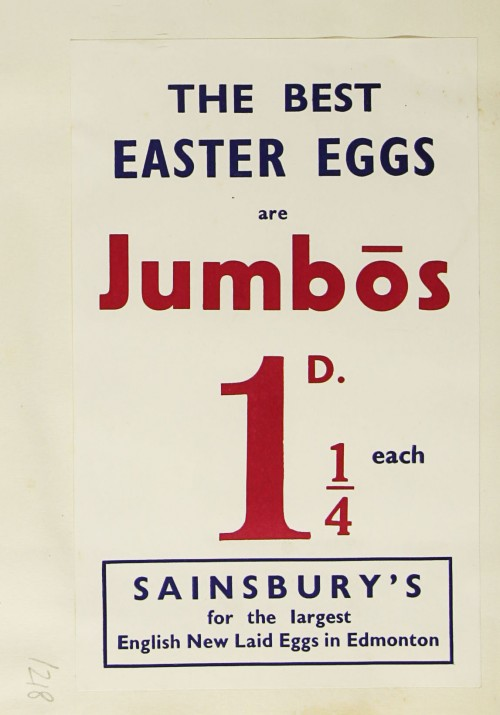 SA/MARK/ADV/1/1/1/1/1/9/218 - 'The Best Easter Eggs are Jumbos' advert, c. 1936