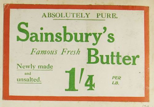 SA/MARK/ADV/1/1/1/1/1/9/22 - 'Absolutely Pure Sainsbury's Famous Fresh Butter' advert, c. 1920s
