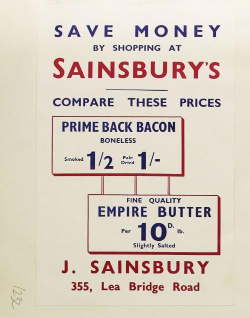 SA/MARK/ADV/1/1/1/1/1/9/232 - 'Save Money by Shopping at Sainsbury's' advert, c. 1936