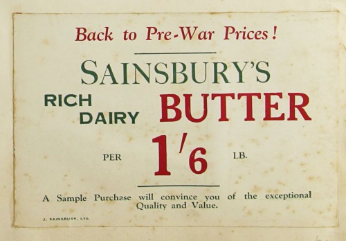 SA/MARK/ADV/1/1/1/1/1/9/24 - 'Back to Pre-War Prices!' Butter advert, c. 1920s
