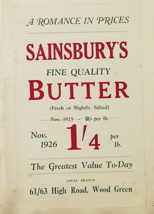 SA/MARK/ADV/1/1/1/1/1/9/26 - 'A Romance in in Prices' Butter advert, 1926