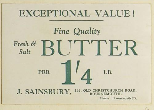 SA/MARK/ADV/1/1/1/1/1/9/2 - 'Fine Quality Fresh & Salt Butter' advert, c. 1920s