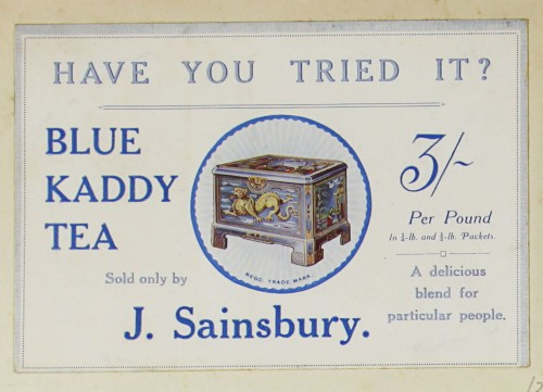 SA/MARK/ADV/1/1/1/1/1/9/30 - 'Have you tried it? Blue Kaddy Tea' advert, c. 1920s