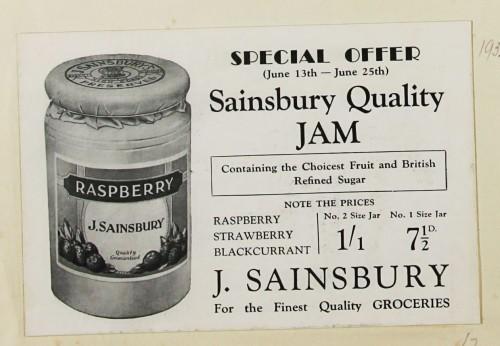 SA/MARK/ADV/1/1/1/1/1/9/32 - 'Sainsbury Quality Jam' advert, 1932