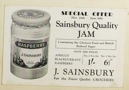 SA/MARK/ADV/1/1/1/1/1/9/36 - 'Sainsbury Quality Jam' advert, 1931