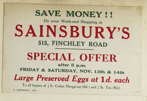 SA/MARK/ADV/1/1/1/1/1/9/37 - Sainsbury's 'Save Money!!' advert, c. 1920s - 1930s