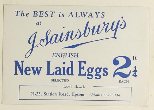 SA/MARK/ADV/1/1/1/1/1/9/38 - 'English New Laid Eggs' advert, c. 1920s-1930s