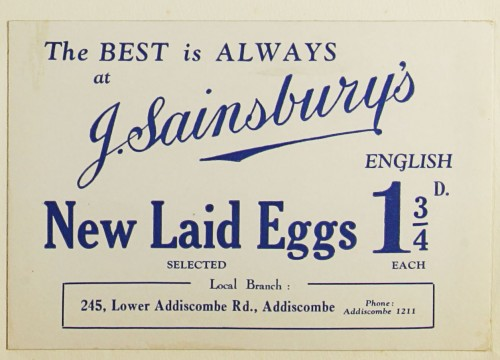 "SA/MARK/ADV/1/1/1/1/1/9/39 - ""The Best is Always at J. Sainsbury's: New Laid Eggs"" showcard"