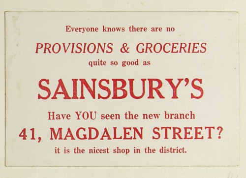 SA/MARK/ADV/1/1/1/1/1/9/44 - 'Everyone knows there are no Provisions & Groceries quite so good as Sainsbury's' advert, [1925]
