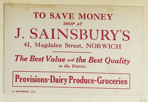 SA/MARK/ADV/1/1/1/1/1/9/49 - 'To Save Money Shop at Sainsbury's' advert, c. 1920s-1930s