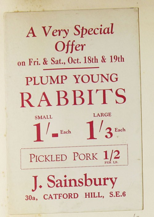 SA/MARK/ADV/1/1/1/1/1/9/52 - 'Plump Young Rabbits' advert, c. 1920s-1930s