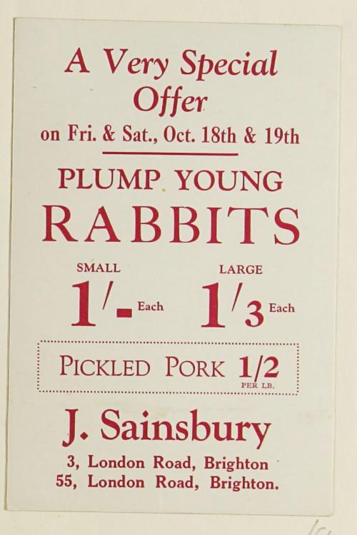 SA/MARK/ADV/1/1/1/1/1/9/54 - 'Plump Young Rabbits' advert, c. 1920s-1930s