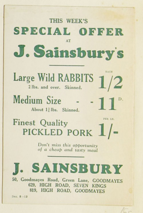 SA/MARK/ADV/1/1/1/1/1/9/55 - 'This Week's Special Offer at Sainsbury's' advert, c. 1920s-1930s