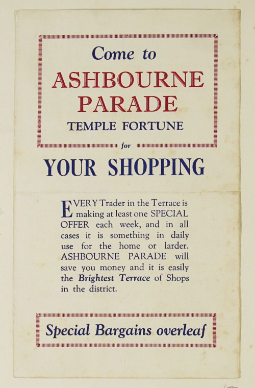 SA/MARK/ADV/1/1/1/1/1/9/57 - 'Come to Ashbourne Parade Temple Fortune for Your Shopping' advert, c. 1920s-1930s