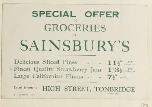 SA/MARK/ADV/1/1/1/1/1/9/59 - 'Special Offer in Groceries at Sainsbury's' advert, c. 1920s-1930s