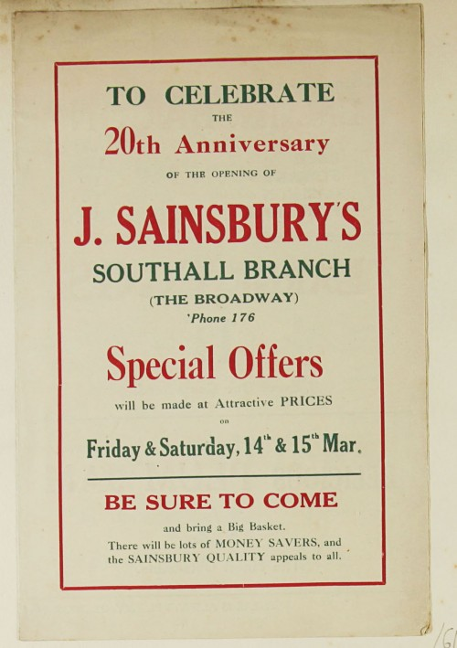 SA/MARK/ADV/1/1/1/1/1/9/61 - 'To celebrate the 20th Anniversary of the Opening of J. Sainsbury's Southall Branch' advert, 1926