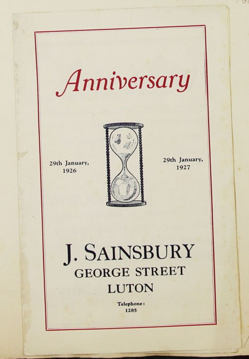 SA/MARK/ADV/1/1/1/1/1/9/62 - 'Anniversary' advert for the Luton branch, 1927