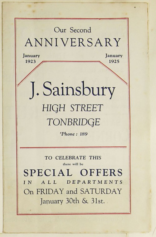 SA/MARK/ADV/1/1/1/1/1/9/63 - 'Our Second Anniversary' advert for the Tonbridge branch, 1925