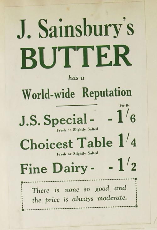 SA/MARK/ADV/1/1/1/1/1/9/65 - 'J. Sainsbury's Butter has a World-wide Reputation' advert, c. 1920s-1930s