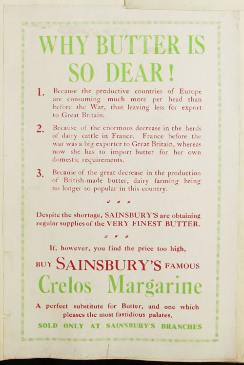 SA/MARK/ADV/1/1/1/1/1/9/68 - 'Why is butter so dear!' advert for Crelos Margarine, c. 1920s-1930s