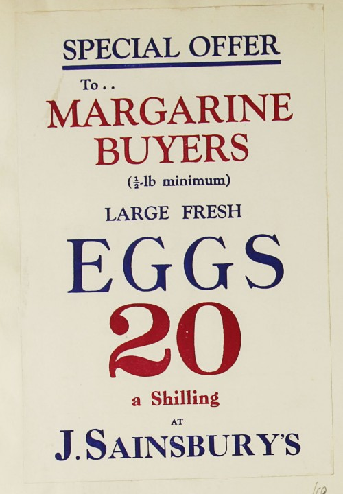 SA/MARK/ADV/1/1/1/1/1/9/69 - 'Special Offer to Margarine Buyers' egg promotion advert, c. 1920s-1930s