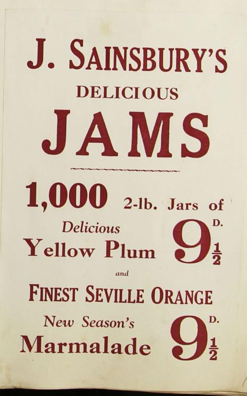 SA/MARK/ADV/1/1/1/1/1/9/73 - 'J. Sainsbury's Delicious Jams' advert, c. 1920s-1930s