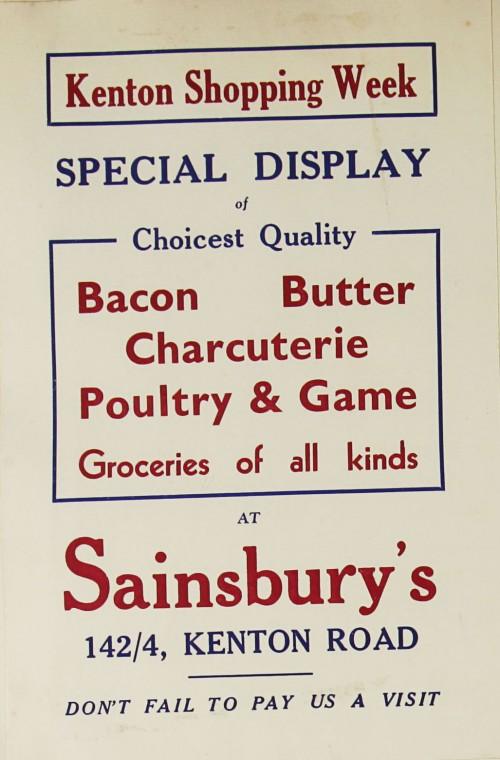 SA/MARK/ADV/1/1/1/1/1/9/74 - 'Kenton Shopping Week' advert, c.1920s-1930s