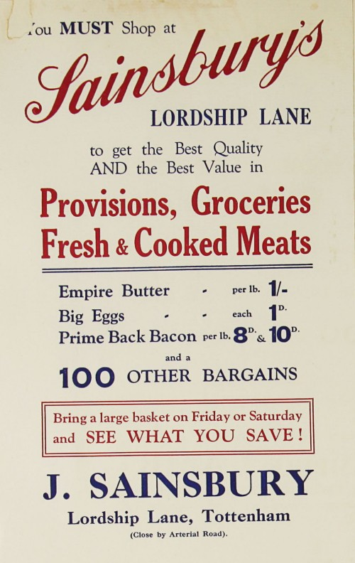 SA/MARK/ADV/1/1/1/1/1/9/78 - 'You must shop at Sainsbury's in Lordship Lane' provisions, groceries and meat advert, c.1920s-1930s