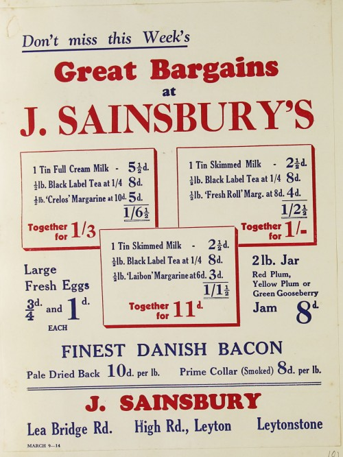 SA/MARK/ADV/1/1/1/1/1/9/81 - 'Don't miss this Week's Great Bargains at J. Sainsbury's' advert, c. 1920s-1930s
