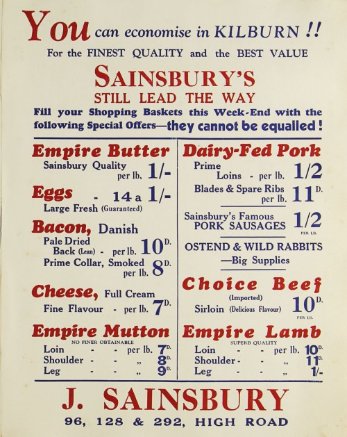 SA/MARK/ADV/1/1/1/1/1/9/82 - 'You can economise in Kilburn!!' advert, c. 1920s-1930s