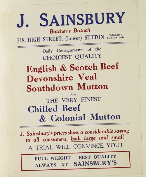SA/MARK/ADV/1/1/1/1/1/9/87 - 'J. Sainsbury Butcher's Branch' advert, c. 1920s-1930s