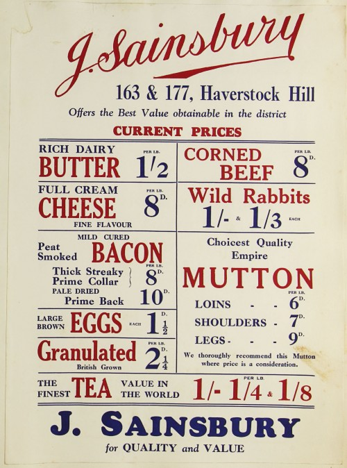 SA/MARK/ADV/1/1/1/1/1/9/88 - J. Sainsbury 'Current Prices' advert, c. 1920s-1930s