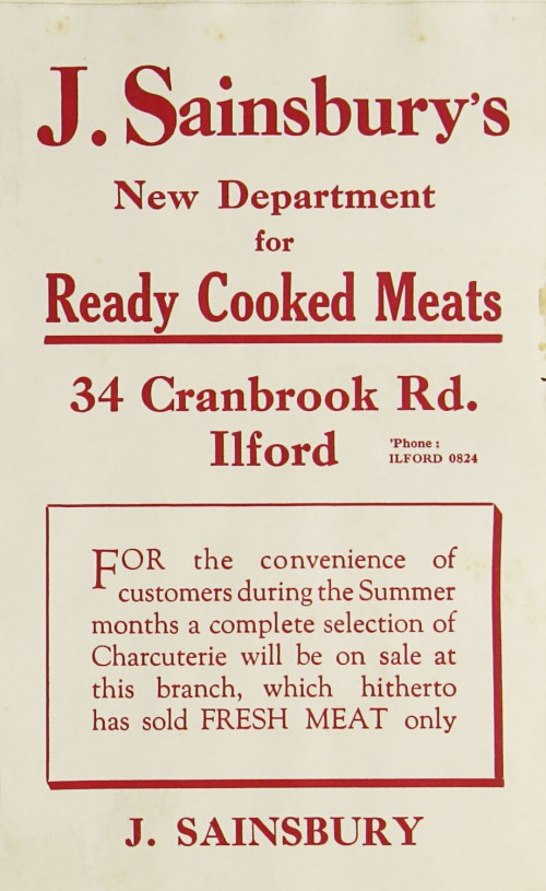SA/MARK/ADV/1/1/1/1/1/9/94 - 'New Department for Ready Cooked Meats' advert, 1932