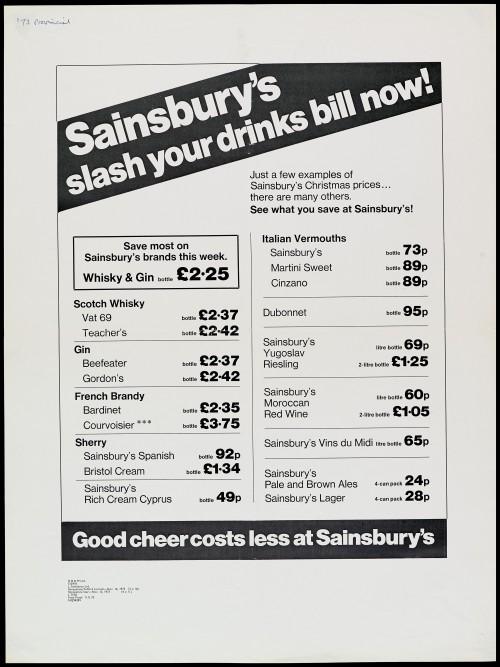 "SA/MARK/ADV/1/1/1/1/2/5/11 - ""Sainsbury's slash your drinks bill now"" advertisement proof"