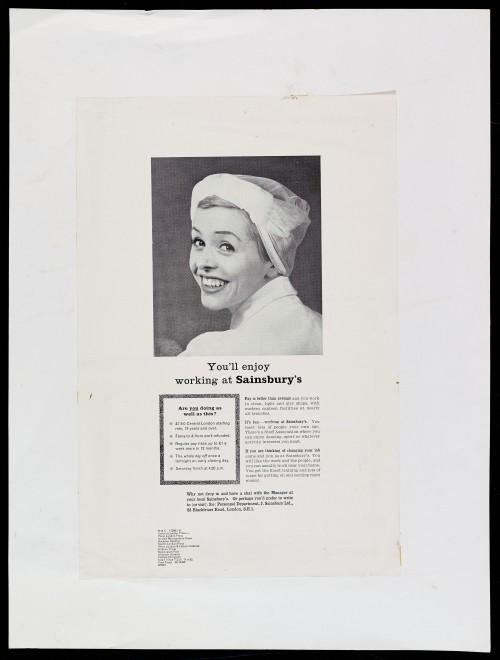 "SA/MARK/ADV/1/1/1/1/2/5/1 - ""You'll enjoy working at Sainsbury's"" proof of newspaper recruitment advertisement"