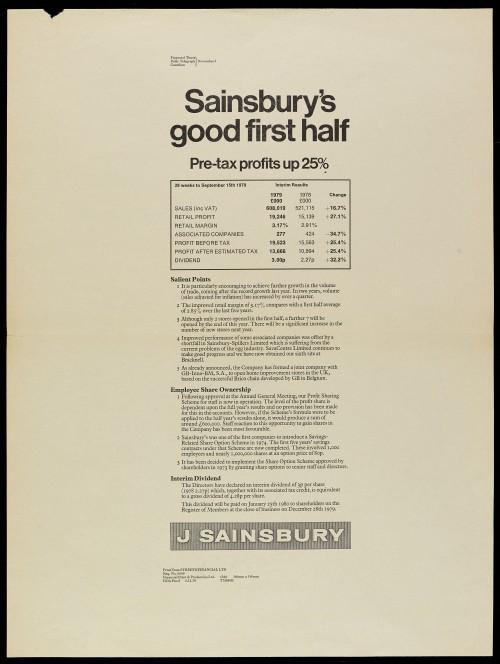 """SA/MARK/ADV/1/1/1/1/2/5/21 - """"Sainsbury's good first half"""" advertisement proof"""