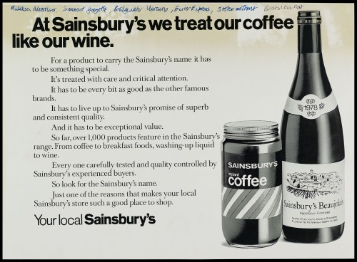 """SA/MARK/ADV/1/1/1/1/2/5/25 - """"At Sainsbury's we treat our coffee like our wine"""" advertisement proof"""