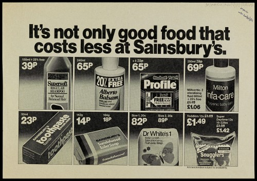 """SA/MARK/ADV/1/1/1/1/2/5/36 - """"It's not only good food that costs less at Sainsbury's"""" advertisement proof"""