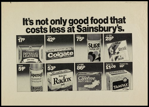 """SA/MARK/ADV/1/1/1/1/2/5/39 - """"It's not only good food that costs less at Sainsbury's"""" advertisement proof"""