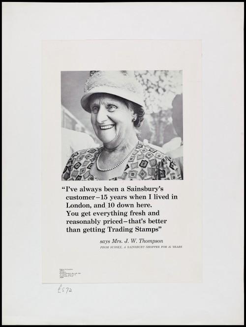 "SA/MARK/ADV/1/1/1/1/2/5/3 - ""I've always been a Sainsbury's customer"" advertisement proof"
