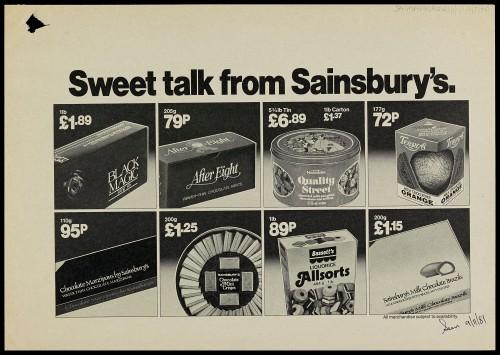 "SA/MARK/ADV/1/1/1/1/2/5/40 - ""Sweet talk from Sainsbury's"" advertisement proof"