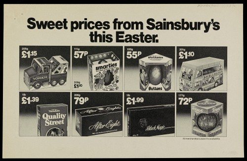 """SA/MARK/ADV/1/1/1/1/2/5/41 - """"Sweet prices from Sainsbury's this Easter"""" advertisement proof"""